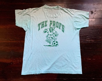 d4b00ac43 vintage 80s The Profs Glassboro State Soccer jersey athletics thin  distressed sun faded t-shirt, intramural sports soft tee threadbare shirt