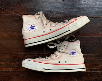 1c8938800329 vintage 90s SUPER RARE natural white Red Stitch CONVERSE high top Chuck  Taylor All Star lace-up sneakers athletic tennis shoes cream hi tops
