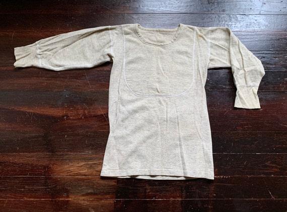 vintage 50s cotton thermal undershirt, gray oatmea