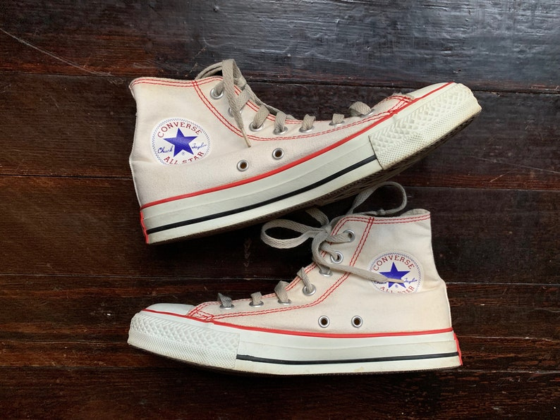 7c4aaa87464fb vintage 90s SUPER RARE natural white Red Stitch CONVERSE high top Chuck  Taylor All Star lace-up sneakers athletic tennis shoes cream hi tops