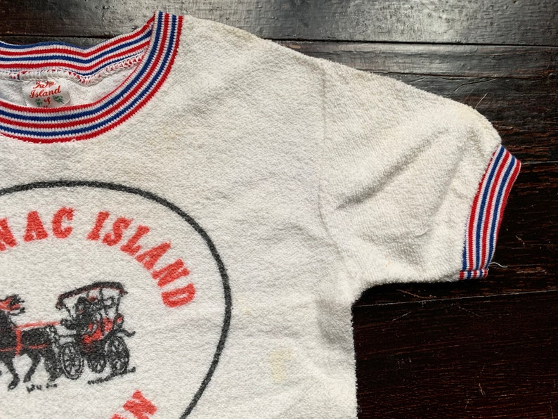 vintage RARE 50s Mackinac Island tourist t-shirt Michigan youth ringer tee children/'s terry cloth textured well-worn horse red white blue