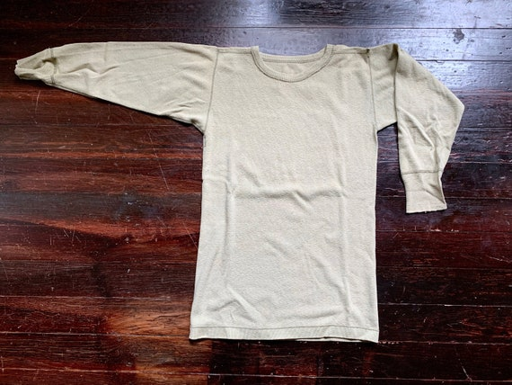 vintage 40s army green long sleeve thermal shirt,