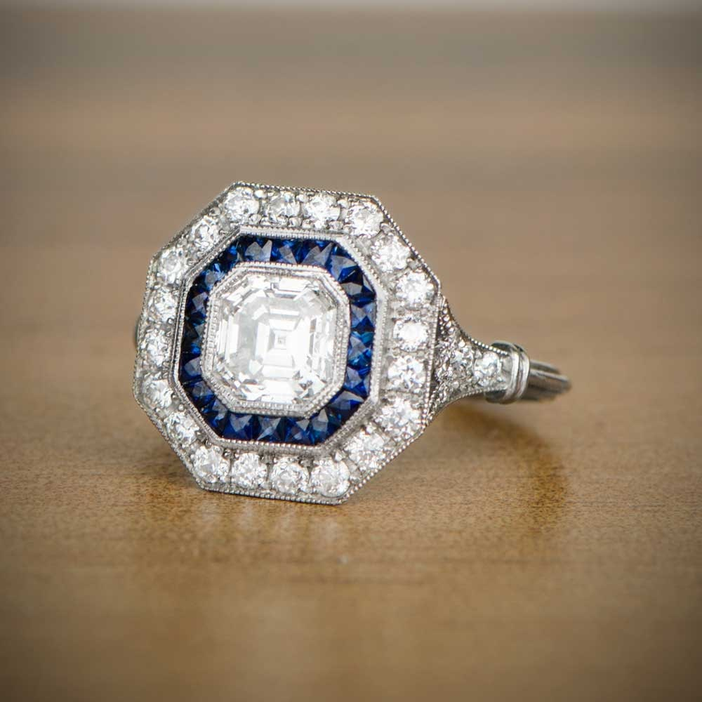 1 05ct Asscher Cut Diamond And Sapphire Ring Vintage Etsy