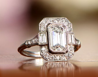 Art Deco Style Platinum (1.18-Carats) Engagement Ring - GIA Certified