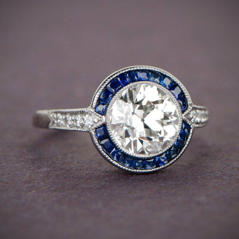 b24e76471ad Estate Engagement Ring Vintage 1.88ct Diamond and Sapphire image ...