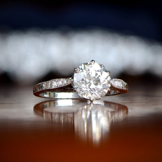 1.81ct Vintage Style Engagement Ring , Antique Diamond and Estate Ring ,  Vintage Diamond Solitaire Engagement Rings