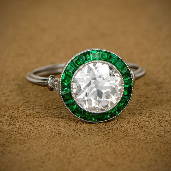 c150ea087be4 1.34ct Diamond Engagement Ring with Emerald Halo Art Deco