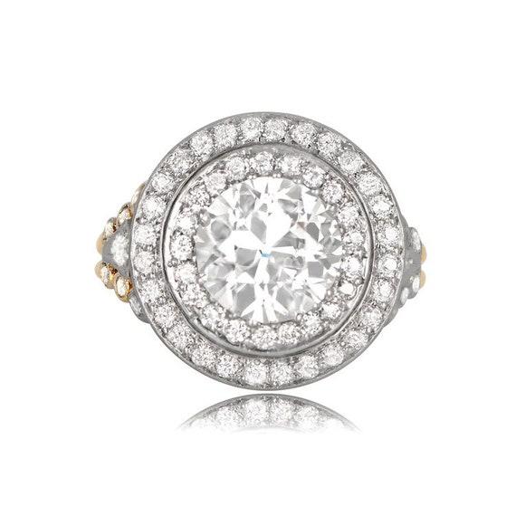 belle couleur enfant dessin de mode Bague de fiançailles diamant Tiffany antique avec double rangée de  diamants-18K or jaune et bague en platine