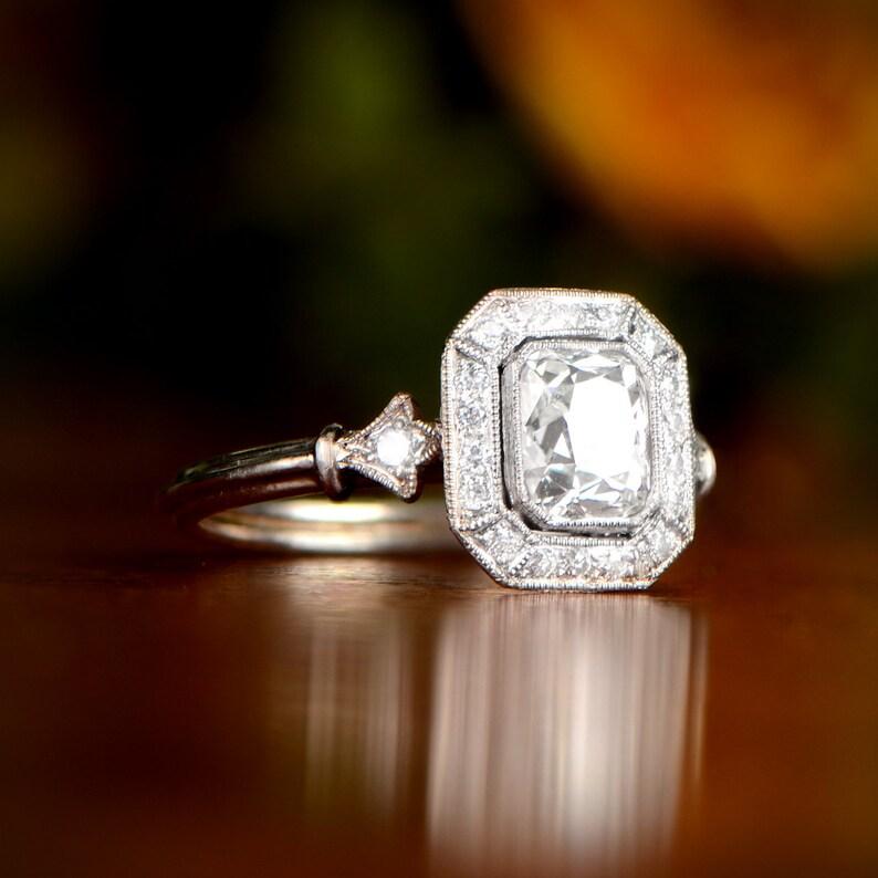 714217615bf09 Antique Cushion Cut Diamond Engagement Ring with Diamond Halo - 1.05 Carats