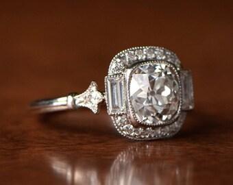 1.93 Carat Antique Cushion Cut Diamond Engagement Ring with Diamond Halo - Antique diamond is circa 1920