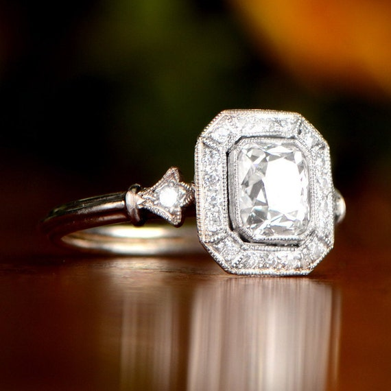 1 05 Carats Antique Cushion Cut Diamond Engagement Ring With Etsy