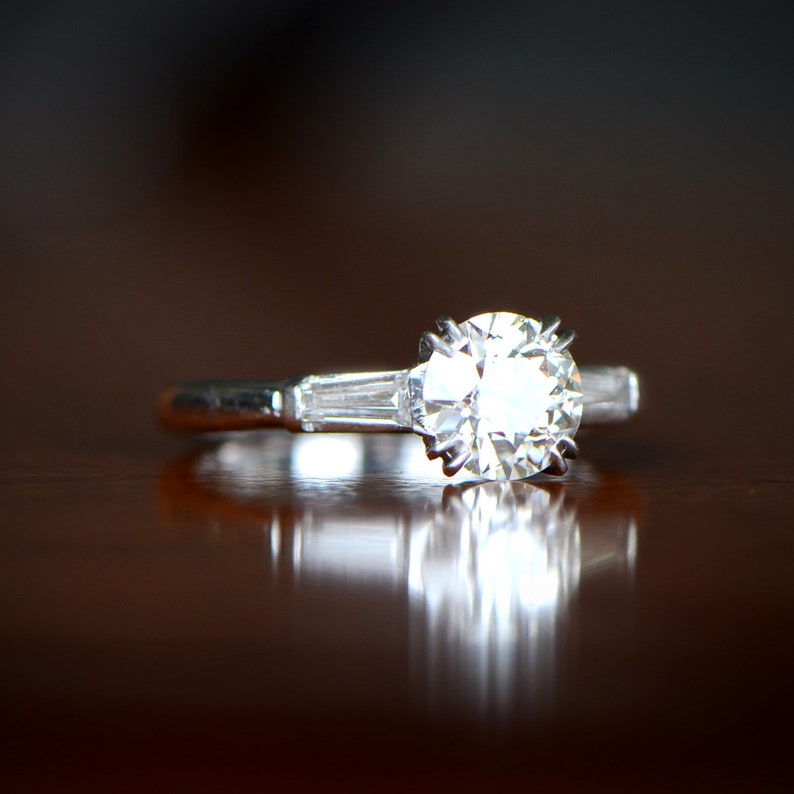622abc55026f7 0.91-Carats Vintage Engagement Ring. Circa 1950. Vintage Art Deco Old  European Cut Diamond Ring from Estate Diamond Jewelry Collection