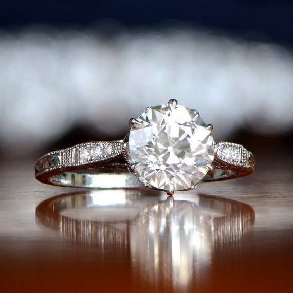 1 81ct Vintage Style Engagement Ring Antique Diamond And Etsy