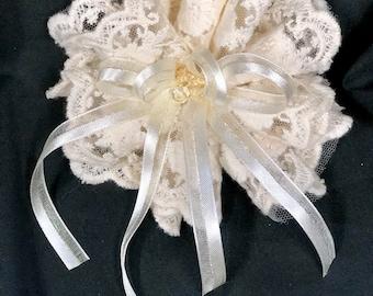 Antique Lace Lolita Hair Bow, large, fabric flower, wedding, bridal