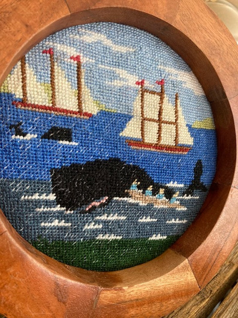 Handmade Whale and Ship Scene Needlepoint in Round Frame