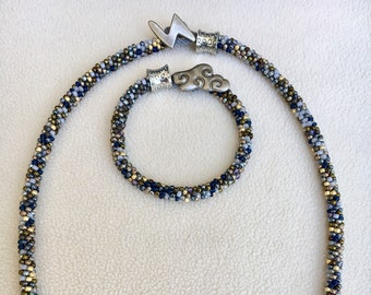 Bead-Woven Kumihimo Style Necklace and Bracelet Set