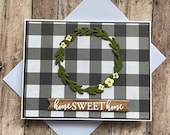 Home sweet home, home sweet home card, Wreath, Housewarming card, Moving card, New neighbor, Real estate agent New home card