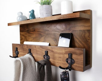 Natural Hardwood Coat Rack, Handmade Entryway Organizer, Modern Rustic Letter Key Holder, Home Decor, Floating Shelf #2