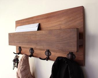 Hardwood Entryway Mail Key Organizer, Modern Rustic Mail Letter Holder , Handmade Key Storage, Wall-mounted Coat Rack, Home Decor, Shelf #1