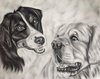 Custom Pet Portrait - Charcoal (multiple pets)