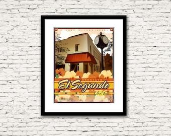 Downtown El Segundo California Clock Tower Print 16x20