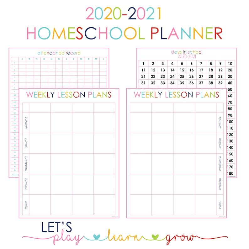 2020-2021 Homeschool Planner Homeschool Planning Pages | Etsy