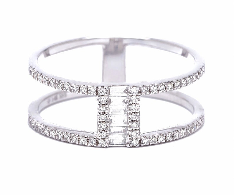 cf2c60b971552 14K Baguette Open Stacking Diamond Ring / Two Row Double Ring / Solid Gold  Diamond Ring / Fashion Stack Ring