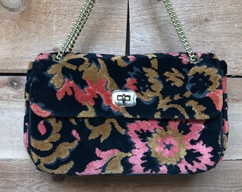 Vintage Dova Floral Tapestry Carpet Clutch with Chain Handle Made in USA