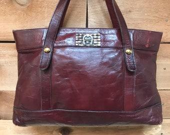 Vintage Etienne Aigner Large Tote Oxblood Leather Designer Handbag