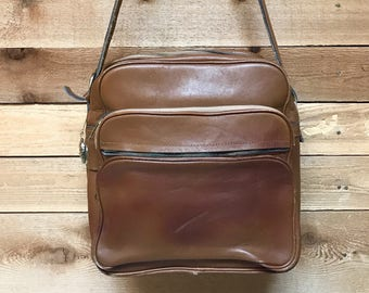 Vintage Rugged Retro Travel Bag Vtg Brown Leather Luggage School Work Messenger Laptop Bag