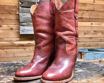 Vintage Frye Cowgirl Boots Vtg Rust Red Leather Western Boots with Stacked Wooden Heel Made in USA Women's Size 5 1/2