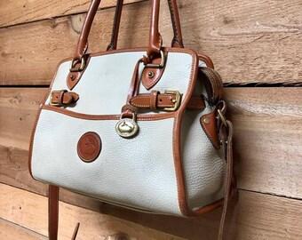 Vintage Dooney & Bourke Satchel Tote Vtg Cream White Leather Handbag Made in USA