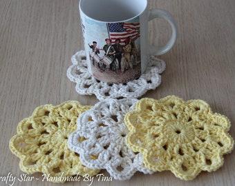 Crochet Flower Coasters / Cotton Coasters / Flower Coasters / Drink Coasters / Housewarming Gift / Hostess Gift / Home Decor