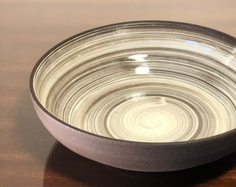Brown and White Bowl 7.5 in. Diameter