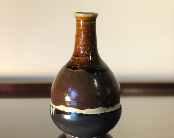 Burnt Orange, Black and White Bottle Vase