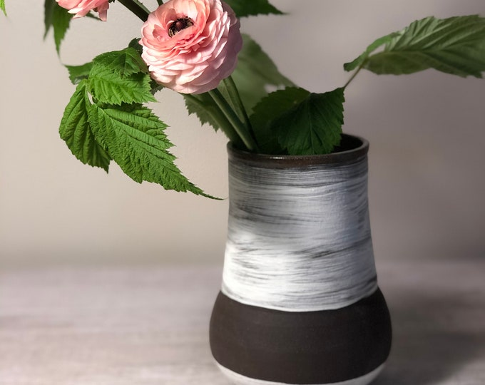Featured listing image: Brown and White Wide Stripe Bulb Vase Medium
