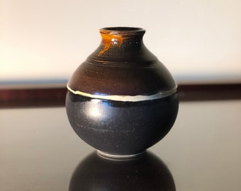 Burnt Orange, Black and White Round Bottle Vase