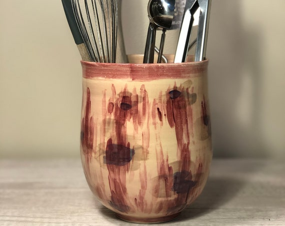 Pink Abstract Flower Utensil Holder