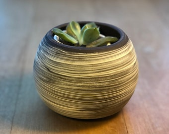 Brown with White Slip Planter