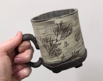 Light Green and Brown Handbuilt Mug Tumbleweeds Design 12 oz