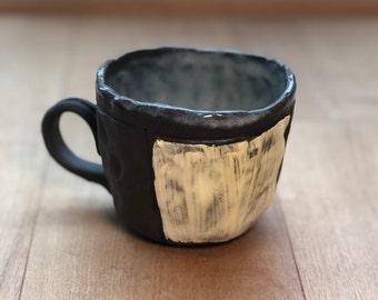 Chocolate and Cream Handbuilt Mug 10oz