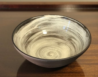 Brown and White Bowl 8in. Diameter