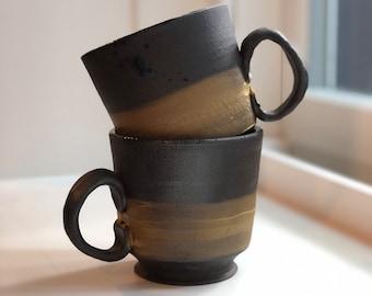 12oz Dark Brown and Yellow Handmade Mug
