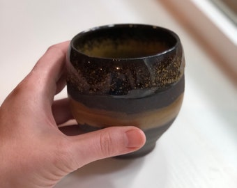 12 oz Dark Brown and Yellow Curvy Cup