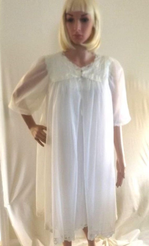 Vintage 1950s 2 Piece Nightgown and Robe Set White Peignoir | Etsy