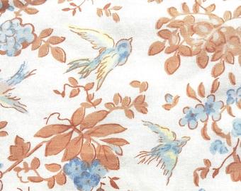 Cotton floral print, bird print, cotton yardage, bird design, leafy pattern, voile, vintage-inspired pattern,