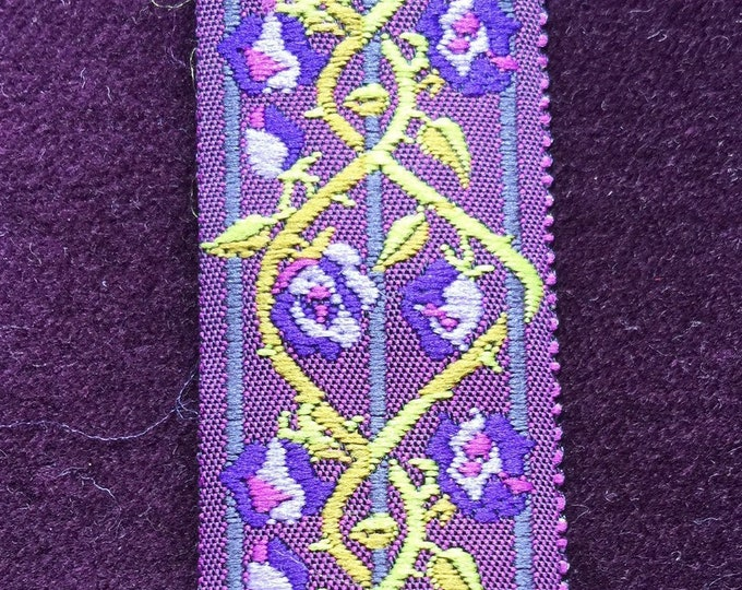 trim 1 ribbon french trim purple ribbon floral ribbon ribbon french ribbon purple trim trellis purple and green applique