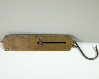 Vintage Brass Spring Balance - Retro family Scale - Chatillons Improved - New York 1890's