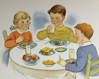 1947 - Original vintage National Dairy Council poster - Retro advertising - Kids at table print - Made in USA