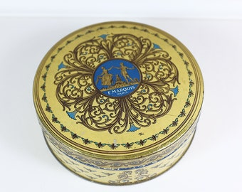 Vintage chocolate F Marquis collectible tin - from Paris, France - François Marquis tin box - old chocolate round tin
